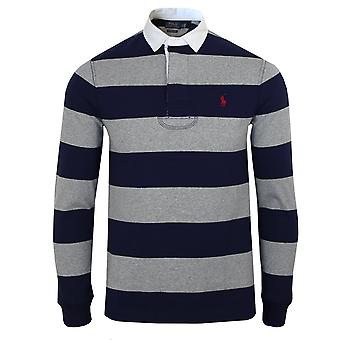 Ralph lauren men's heather and french navy striped rugby polo shirt