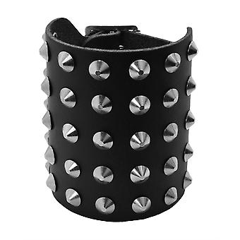 Bullet 69 Black 5 Row Conical Studded Leather Wristband