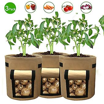 Vegetable planting bags, 3 large breathable garden planting bags, visible household flower pots with handles