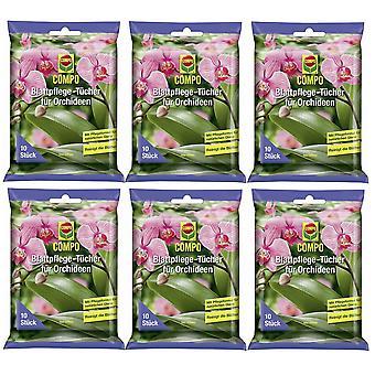 Sparset: 6 x tissus de soins des feuilles COMPO pour orchidées, 10 pièces