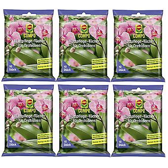 Sparset: 6 x COMPO leaf care cloths for orchids, 10 pieces