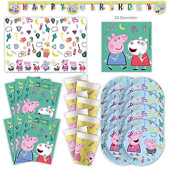 Peppa Wutz Party Set XL Procos 44-piece for 6 guests party birthday decoration party package