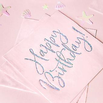 Napkins Happy Birthday Light Powder Pink x 20