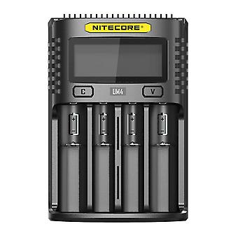 Lcd screen display lithium battery charger 4-slots smart rapid usb charging