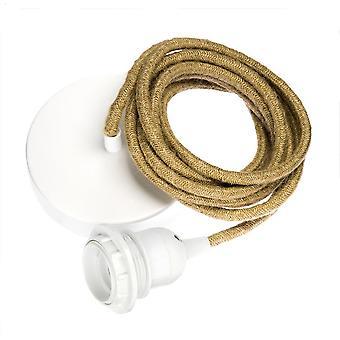 HOOPZI - Závěs 1 - Závěsný kov 1 světlý - elektrická drátěná tkanina - 15 barev - Sleeve E27 - Ficelle