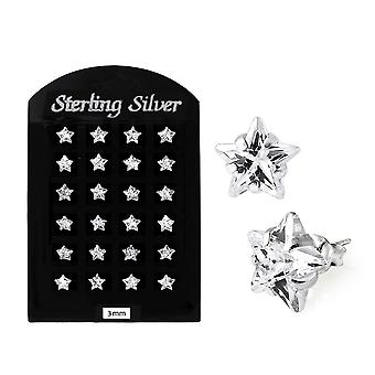 3MM CZ Star Ear Stud in 12 pair Tray