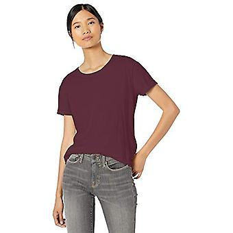 Märke - Goodthreads Women&s Washed Jersey Cotton Roll-Sleeve Open Crewneck T-Shirt, Bordeaux, Medium