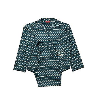 Minijammies Elena 5656 Girl's Teal Blue Geometric Print Pyjama Set