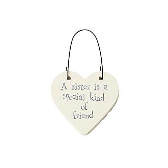 Sister Is A Special Friend - Mini Wooden Hanging Heart - Cracker Filler Gift