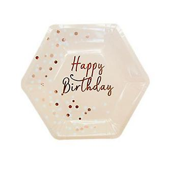 16PCS Disposable Party Birthday Cake Paper Plates Pink