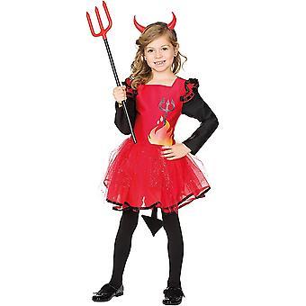 Teufelin Kinder rotes Kleid Kostüm Teufel Feuer