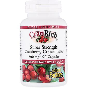 Naturliga faktorer, CranRich, Super styrka, Tranbärskoncentrat, 500 mg, 90 Cap