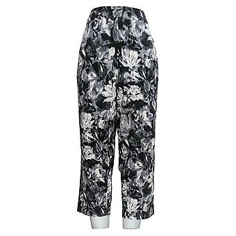 Bob Mackie Women's Pants Pull-On Floral Printed Crop Black A352093