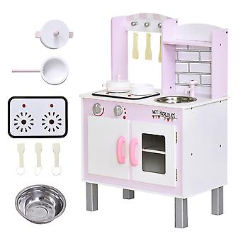 HOMCOM Kids Kitchen Play Set Wooden Pretend Play Toy w/ Sounds Utensils Pans Storage Child Role Play Accessories for 3 Years+ Pink