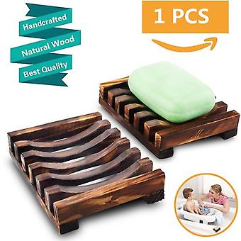 Natural Wooden Soap Dish Tray Holder Storage Rack Plate Box Container For Bath Shower