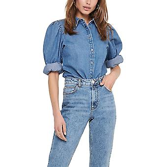 Only Women's Puff Sleeve Denim Shirt