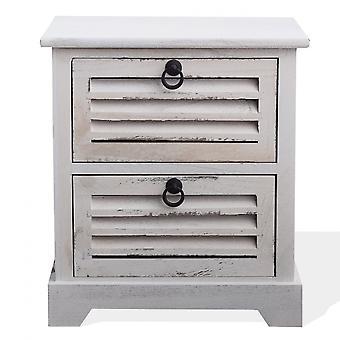 Rebecca Meble Comodino Mobiletto 2 Retro Białe szuflady z drewna Vintage 45x42x29