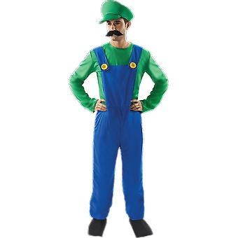 Mens Super loodgieter de mate Luigi 80s retro video spel Stag Night fancy dress