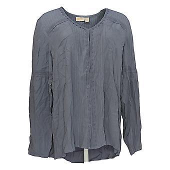 LOGOTIPO por Lori Goldstein Women's Top Long Sleeve Gray A352021