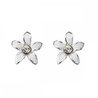 Anfänge Sterling Silber A909 Emaille Blume Ohrstecker