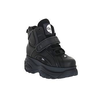 Buffalo 1348 black cow leather sneakers fashion