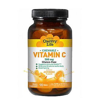 Country Life C-vitamiini Pureskeltavissa, 500 MG, Mehukas oranssi, 90 vohvelia