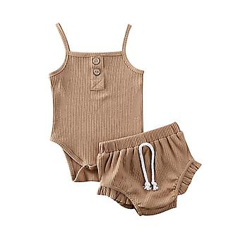 Baby Summer Clothes Pure Color Knitted Button Rompers Tops Shorts Pants Baby