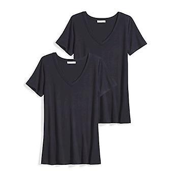 Brand - Daily Ritual Women's Jersey Kortærmet V-Neck T-shirt, Navy / Navy, Small