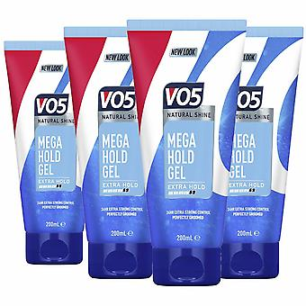 VO5 Mega Hold 24hr Extra Control Styling Gel 200ml Pack of 4