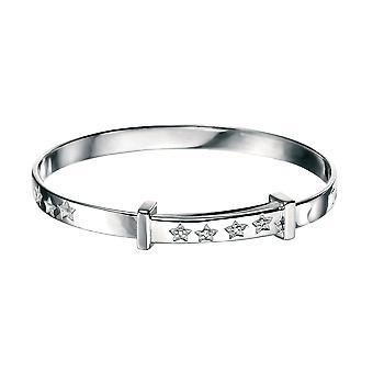 D for Diamond Children's Engravable 925 Sterling Silver Diamond Twinkle Little Star Christening Bangle
