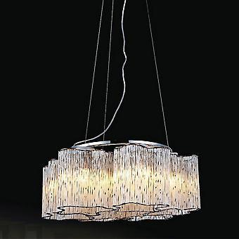 Klassieke hangende hanghanger Chroom 6 Licht met glazen tint, E27