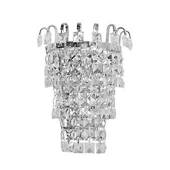 Crystal Chrome Væg Lys 1 Pære 12 cm
