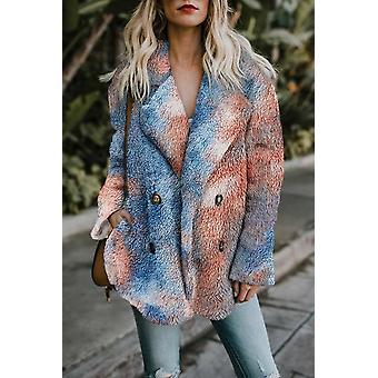 Tie Dye Lapel Collar Open Front Fleece Coat