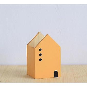 House Shape Træ Pen Holder, Desk Organizer, Opbevaring Box