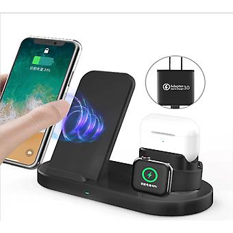 Black Wireless Apple Phone Charger , 3-in-1 Wireless Charging Station