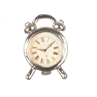 Dolls House Miniature 1:12 Scale Bedroom Accessory Antique Chrome Alarm Clock