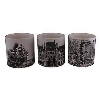 Set of 3 Monochrome Ceramic Small Planters