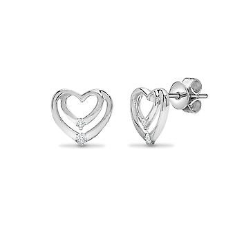 Jewelco London Ladies Solid 18ct White Gold Channel Set Round G SI1 0.1ct Diamond Love Heart Stud Earrings
