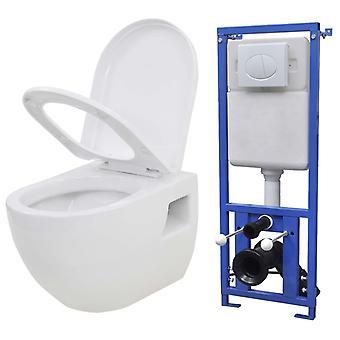 Hänge-Toilette mit Einbau-Spülkasten Keramik Weiß
