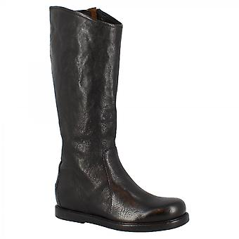 Leonardo Shoes Women's handmade round toe knee high boots in black calf leather with side and back zippers