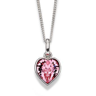 Anfänge 925 Sterling Silber Damen Herz geformt Kristall von Swarovski® Halskette der Länge 41cm + 5cm Extender