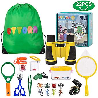 Uttora outdoor explorer kit, kids binoculars set with compass, magnifying glass, butterfly net for 8
