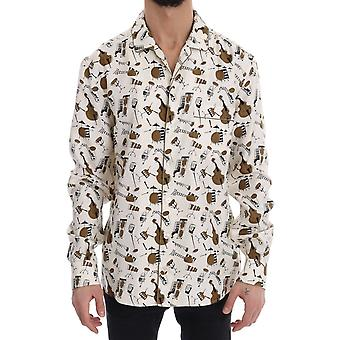White Silk JAZZ Motief Print Shirt