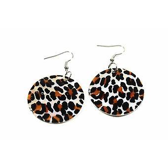 Leopard Print Mother Of Pearl Earrings