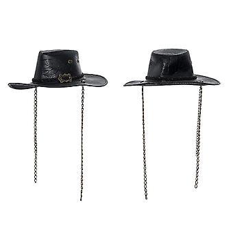 Women's Punk Cowboy Hat Steampunk Fashion Personality Pu Carved Casual Denim