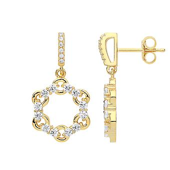 Jewelco London Ladies Amarelo Gold-Band Sterling Prata Cubic Zirconia Chain Link Hoop Stud Drop Brincos
