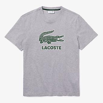 Lacoste Lacoste Crew Neck Crackled Logo Print Cotton Mens T-Shirt