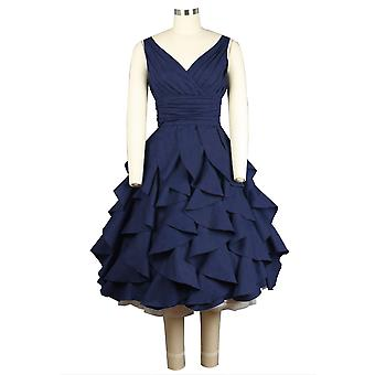 Chic Star Plus Size Rushed V-neck Sleeveless Dress In Navy
