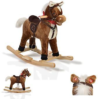 Rocking Caballo Felpa Chipper WJ-001 Skids, Saddle, Stirrup y Función De música
