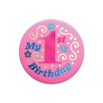 Mein 1. Geburtstag Satin Button (Pack von 6)